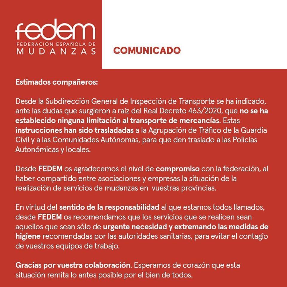 Comunicado FEDEM Coronavirus